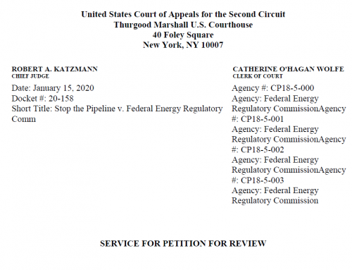 STP files Petition for Review of FERC's orders in the U.S. Court of Appeals for the Second Circuit