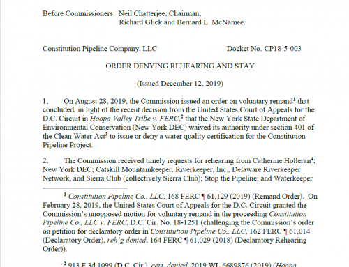 FERC issues Final Order Declaring NYSDEC Waived its Right to Deny the 401 Water Quality Certification